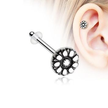 Antique Daisy Piercing Stud with O-Rings