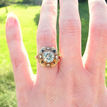 Charming Vintage Antique Ring, Striking Design, Blue Topaz, White Sapphire, Enamel Details, Solid Rose Gold, in Old Box
