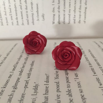 Rose earrings   rose studs  rosy clay earrings   red and yellow roses  Christmas rose earrings   xmas sale