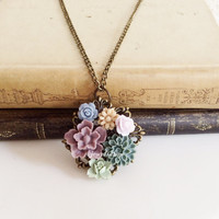 Woodland Wedding Flower Necklace Bridal Jewelry Bridesmaid Gift Brooch Lilac Gray Blue Beige Sage Green Floral Bouquet Shabby Chic Flower SB