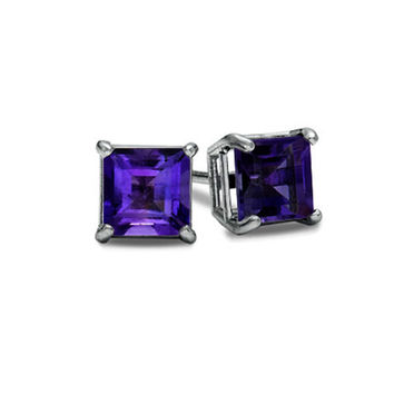 14K White Gold Princess Cut Amethyst Cz VS1 Stud Earrings