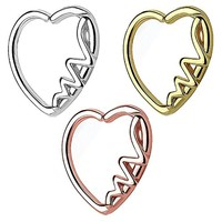 BodyJ4You 3PCS 16G Daith Earring Piercing Heartbeat Design Tragus Helix Cartilage Hoop Body Jewelry