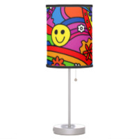 Smiley Face Rainbow and Flower Hippy Pattern Table Lamps