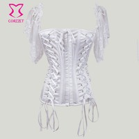 New 2016 Sexy Corsets And Bustiers Bridal Wedding Satin/Lace Short Sleeve White Corset Lingerie Corpetes E Espartilhos Gothic