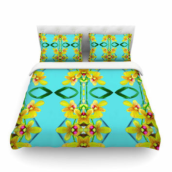 """Dawid Roc """" Tropical Floral Orchids 3"""" Teal Floral Featherweight Duvet Cover"""
