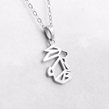 Shunyun Origami Animal Lovely Pet Rabbit Bunny Pendant Necklace Chain of Clavicle for Women Birthday Gift Dropshipping