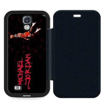 Michael Jordan Slam Dunk Leather Wallet Flip Case Samsung Galaxy S4