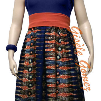 African Maxi Skirt in Holland Wax - Bandeau /Waist Band in Lycra - Gbigba Multi-way Maxi Skirt Transforms into Dresses - Jupes Africaines