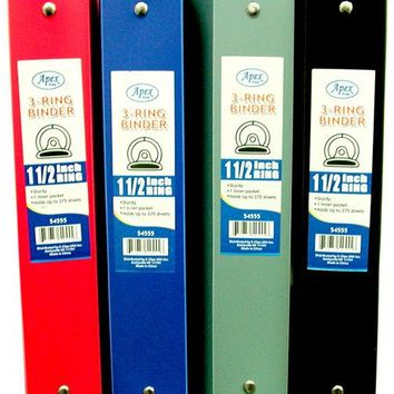 """Binder - Flexible Assorted Colors - 1.5"""" - 3 rings - CASE OF 48"""