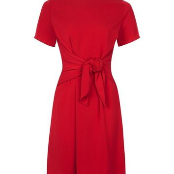 Red Tie Waist Short Sleeve A-Line Dress
