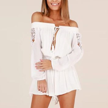 Laced Sleeve Romper