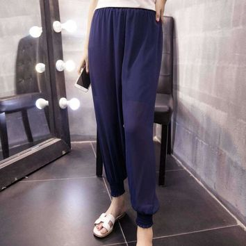 Plus Size Summer Chiffon Harem Pants Solid Loose Casual High Waist Ankle Length Women Thin Beam Trousers