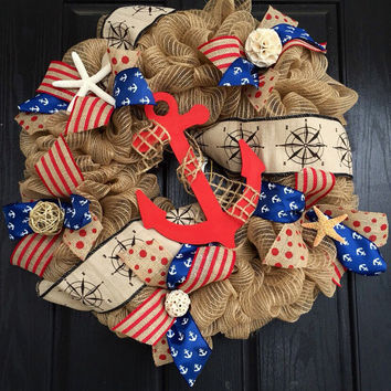 Summer deco mesh wreath,burlap nautical wreath, beach wreath,front door beach wreath, nautical wreath, anchor wreath, patriotic wreath