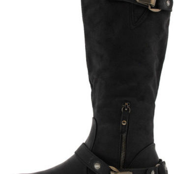BARBARA BLACK MID CALF RIDING BOOT