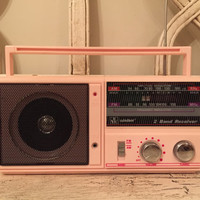 Retro 1980s Pink Radio - Mini Boombox in Pale Pink - Works Great