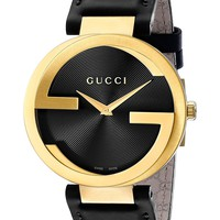 Gucci Swiss Quartz Gold-Tone and Leather Dress Black Men's Watch(Model: YA133326)