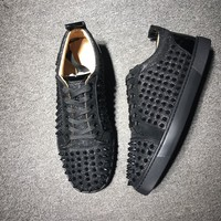 KUYOU Christian Louboutin red sole classic rivet shose Roller Boat CL classic Low Top black Casual shoes