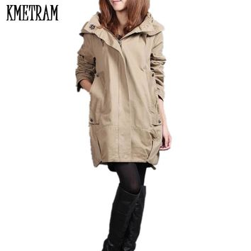 Hot!Europe style new 2017 women fashion loose medium long cotton-padded jacket Autumn winter fat mm Trench coat Plus size G341