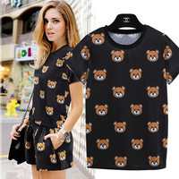 Black Bear Pattern T-Shirt With Paired Shorts