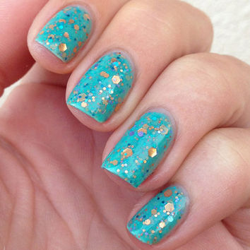 Nail polish  Serenity copper turquoise and by EmilydeMolly on Etsy