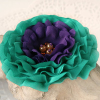 Emerald Green And Purple Flower Pin, Hair Clip,Sash or Brooch