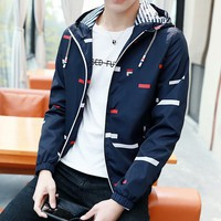 FILA Fashion Hooded Zipper Cardigan Sweatshirt Jacket Coat Windbreaker Sportswear