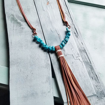 Blue Turquoise Chunk Necklace with Wrapped Leather Tassel 235Y