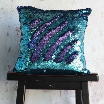 Aqua & Purple Sequin Mermaid Pillow - COVER ONLY (Inserts Sold Separately)