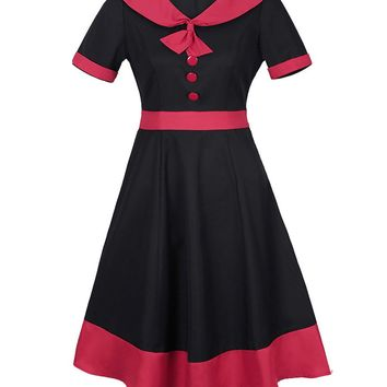 Casual Vintage Sailor Collar Color Block Plus Size Flared Dress
