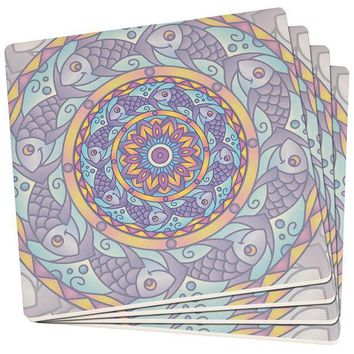 PEAPGQ9 Mandala Trippy Stained Glass Fish Set of 4 Square SandsTone Art Coasters