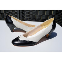 Vintage Saddle Shoe Style Pumps, Black and White Heels, 7M, Melodie, 50s Style made in the 80s, Rockabilly, Summer