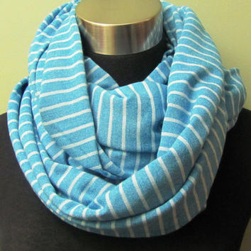 Blue with Stripe, Jersey Knit Infinity Scarf