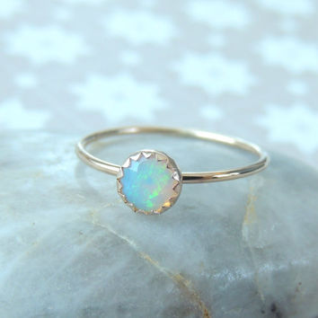 Opal Gold Ring, 14k solid Gold Gemstone Ring, Opal Ring, Glowing Opal Ring, Rainbow Opal Ring, Opal Stacking Ring, Made To Order