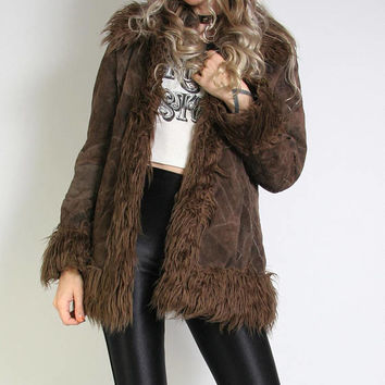 90s Does 70s Penny Lane Leather Patch Jacket - Faux Fur Collar and Cuffs  90s Pennylane Jacket - Hippie 90s Jacket Coat - Boho Rock and Roll
