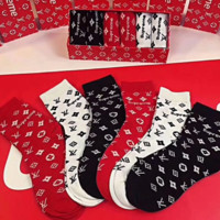 Louis Vuitton LV & Supreme New Letter Print Men And Women Socks 6 Pairs Of Socks Boxed Three Color