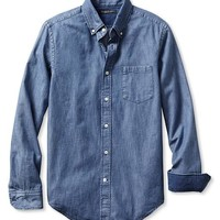 Tailored Slim-Fit Denim Button-Down Shirt