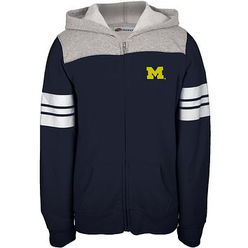 Michigan Wolverines - Game Day Sports Stripes Girls Juvy Zip Hoodie