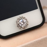 Bling Cute Crystal Silver Home Button Sticker for iPhone 4,4s,4g, 5 , ipad , ipad mini