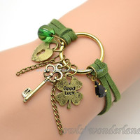 Good Luck Four Leaf Clover bracelet,with lover heart lock,key,Four Leaf Clover,crystal bead charms braclet,green leather bracelet OB32