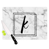 "KESS Original ""Gray Marble Monogram"" Cutting Board"