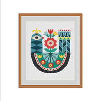 Bird cross stitch pattern, Bird cross stitch, Primitive bird, Bird embroidery, Bird pattern, Folk art, Folk bird, Primitive cross stitch PDF