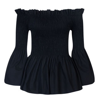 Black Stretch Off Shoulder Ruffle Hem  Trumpet Blouse