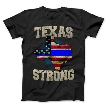 Texas Strong Thin Blue Line Law Enforcement Limited Edition Print T-Shirt & Apparel