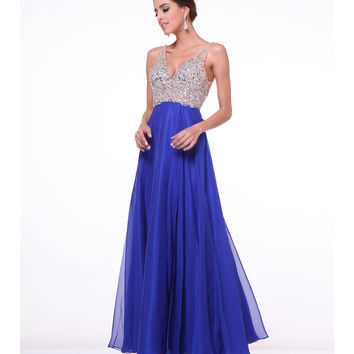 Royal Blue V-Neck Embellished Chiffon Gown 2015 Prom Dresses
