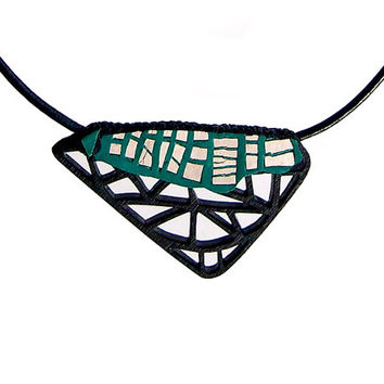 Necklace, contemporary jewelry, modern, minimalist, limited edition , FREE Shipping, Swarovski crystals, leather, laser cut wood, steel
