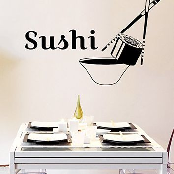 Wall Decal Sushi Roll Food Chopsticks Japanese Cuisine Vinyl Sticker Decals Kitchen Cafe Home Interior Design Art Wall Murals Bedroom Decor NS713