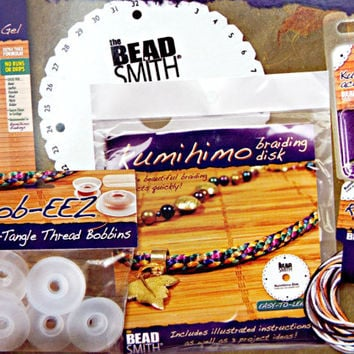 Kumihimo Braiding Kit for Beginners by BeadSmith, UK Supplier,  Inc. Braiding Disk, Jewelry Gel, Thread Bobbins, Kumihimo Braid and Findings
