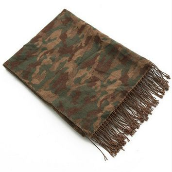 New winter camouflage printed fringed scarves warm scarf shawl unisex scarves