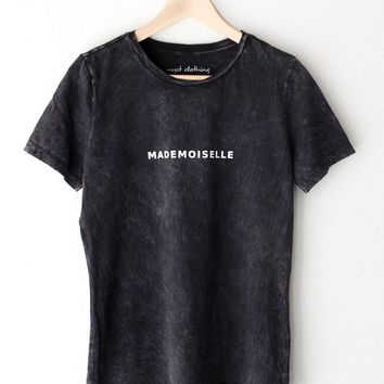 Mademoiselle Relaxed Tee - Acid Wash Black