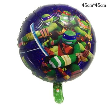 50pcs 18 inch Teenage Mutant Ninja Turtles Foil Balloon TMNT Inflatable Helium Aluminium Ballon Happy Birthday Party Supplies